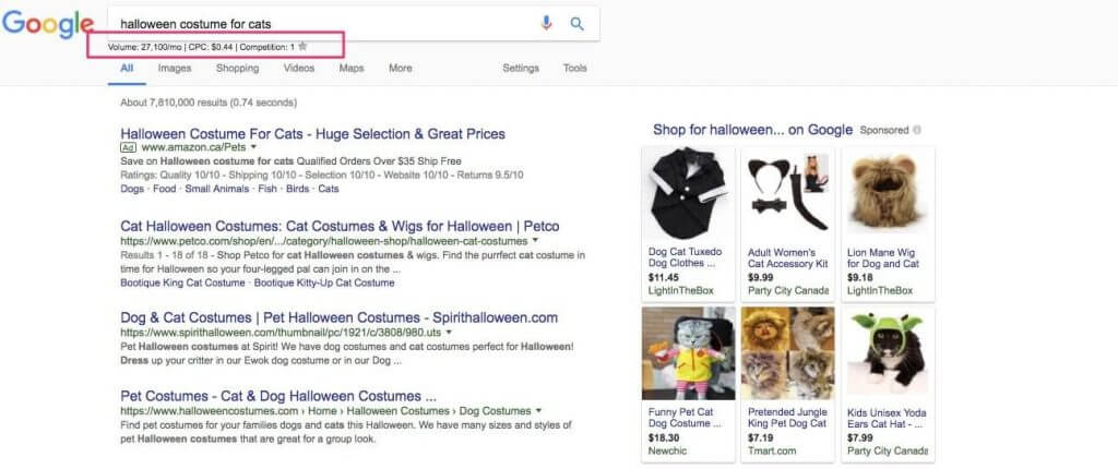 products-keyword-google-search-result-page