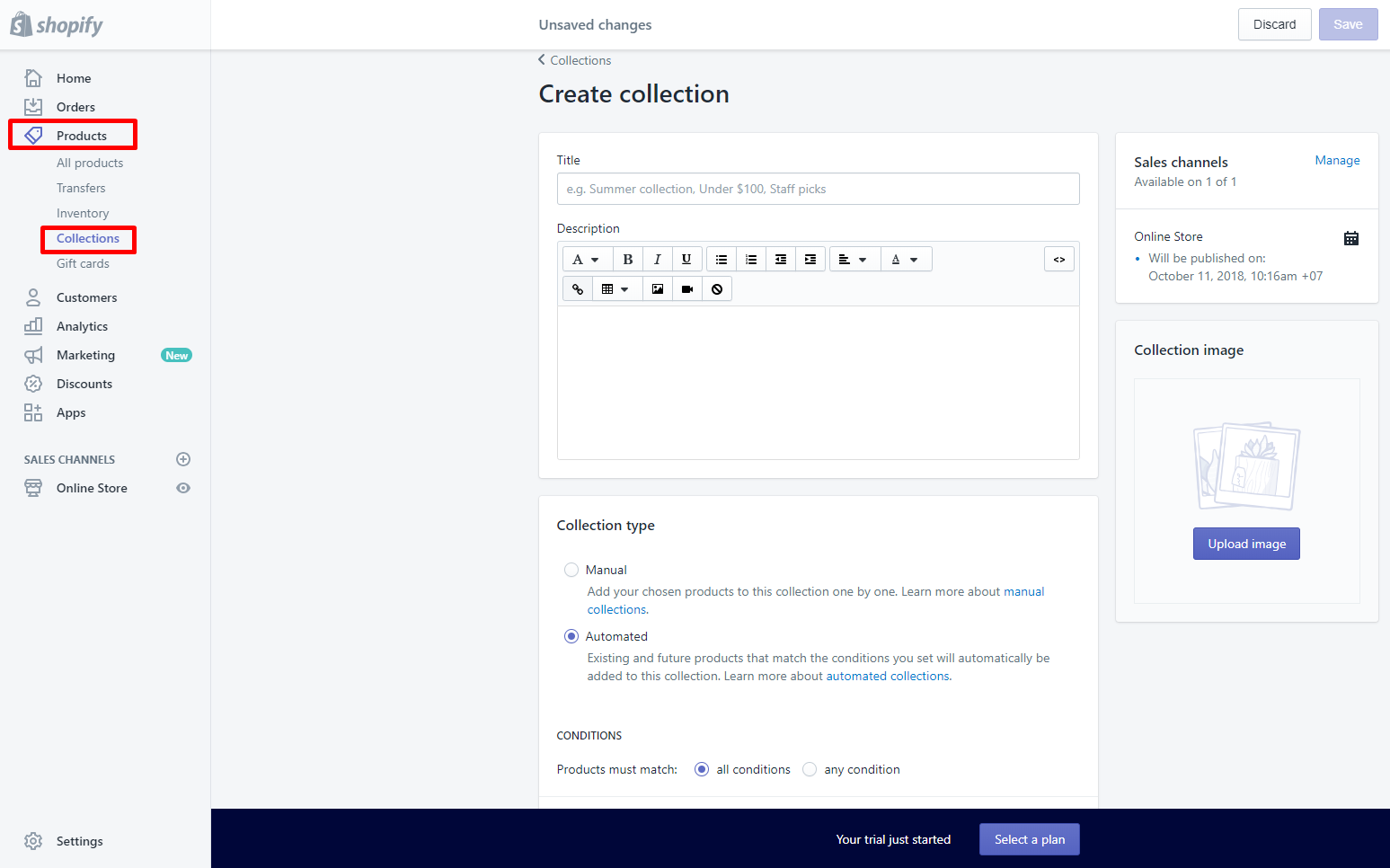Create Shopify store collection