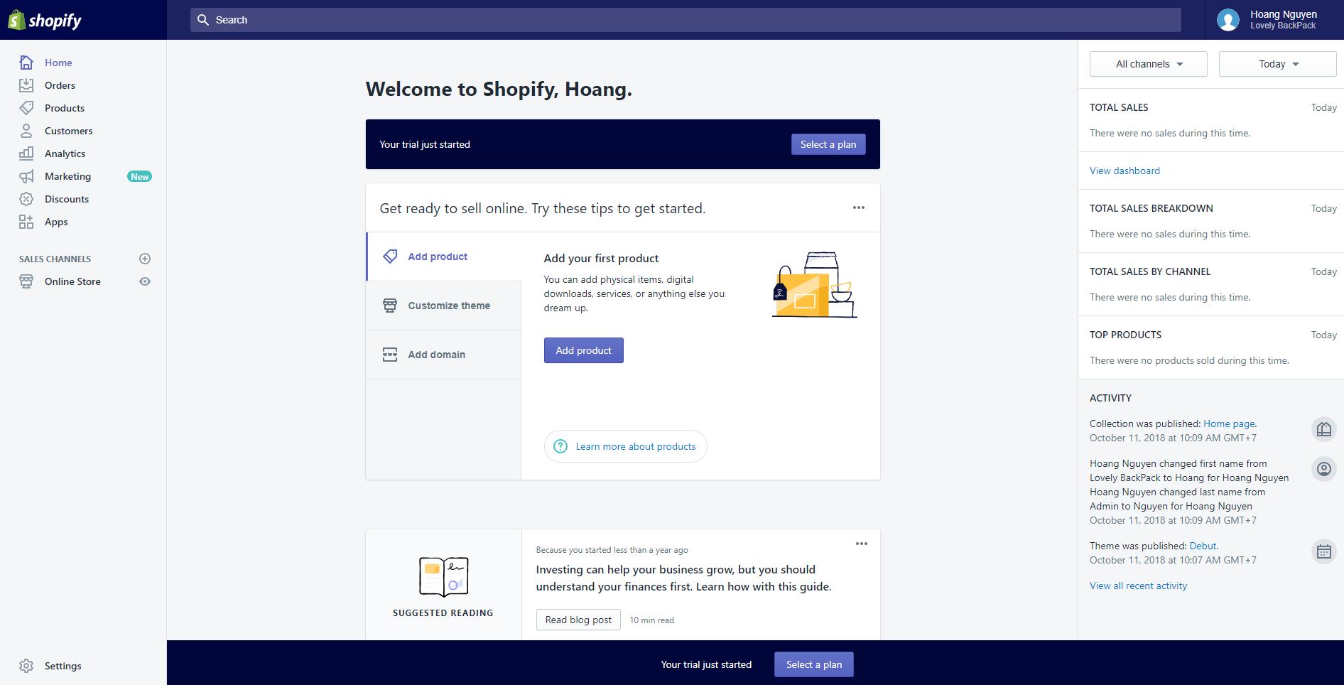 Shopify store dashboard