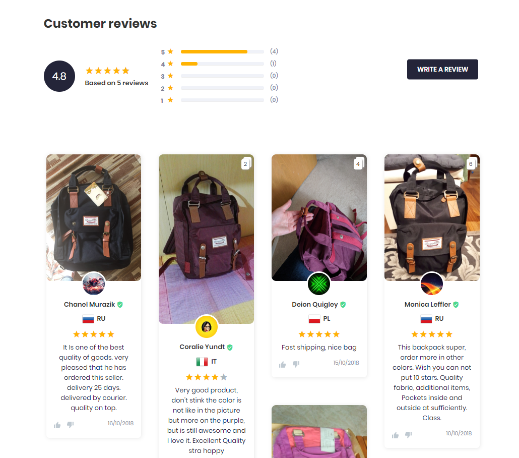 Show reviews in Shopify store