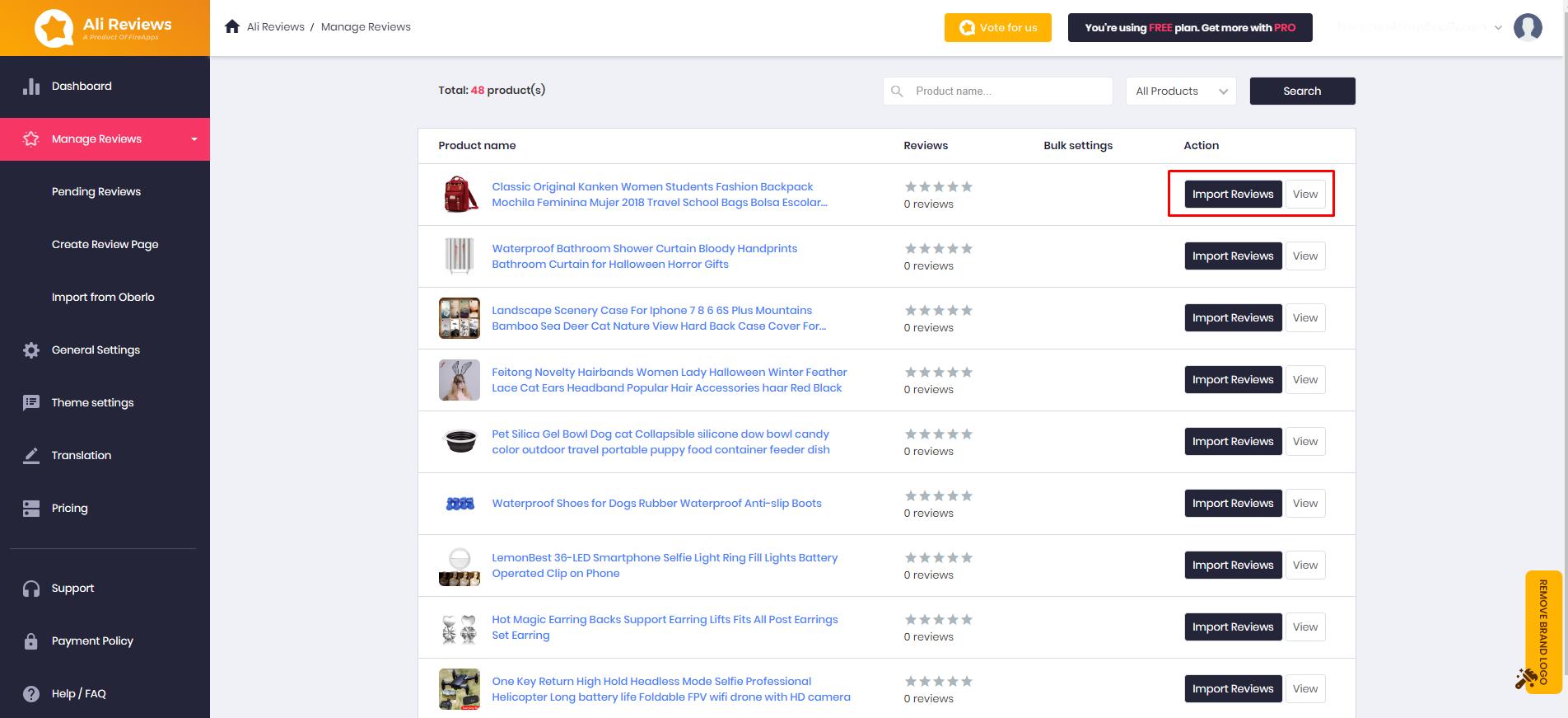Import reviews using app Ali Reviews