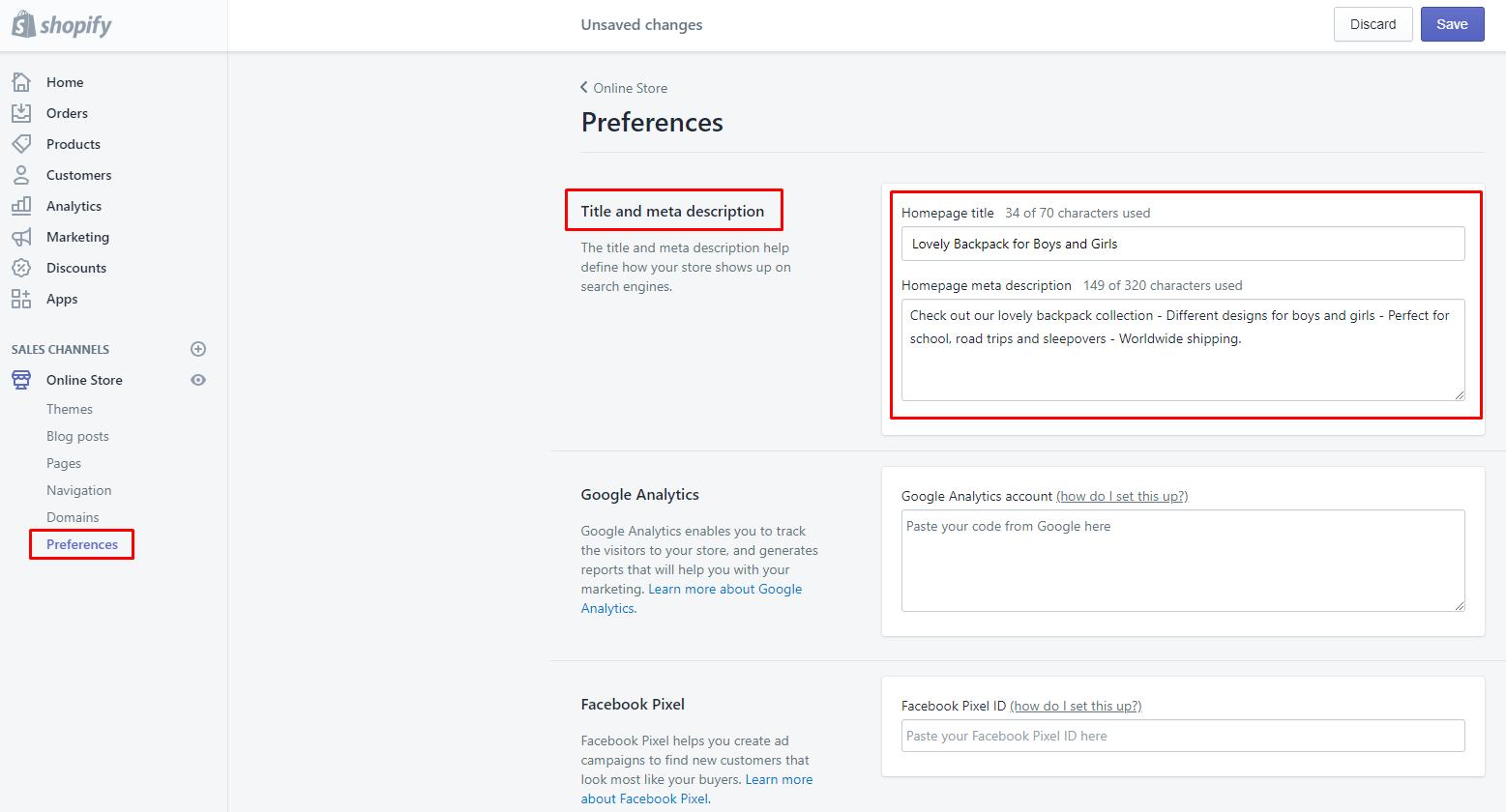 edit Shopify website title and description