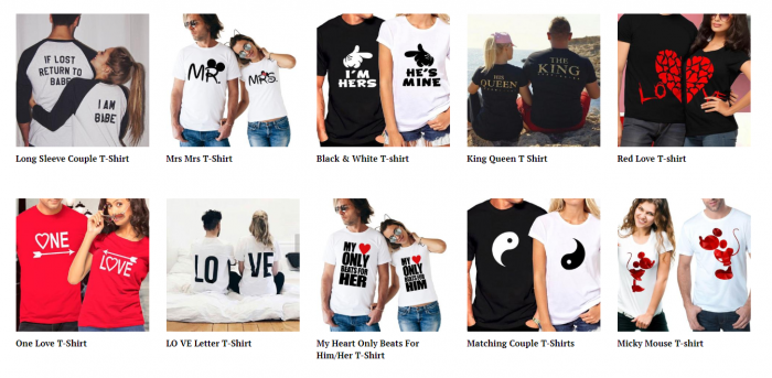 product ideas for dropshipping on Valentine's Day - Couple T-Shirt