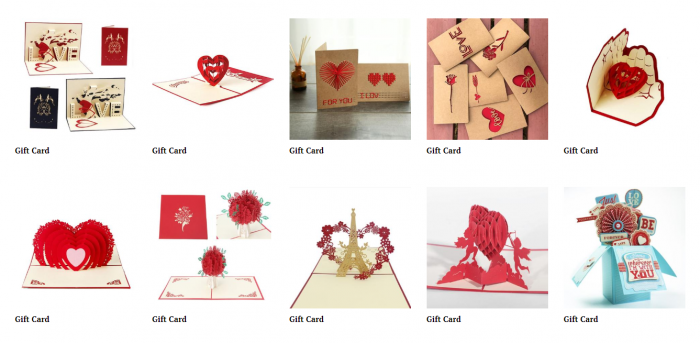 product ideas for dropshipping on Valentine's Day - gift card