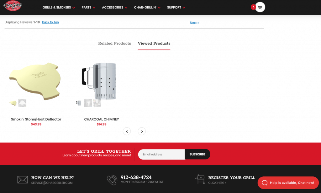 shopify-store-chargriller-website-feature-viewed-products