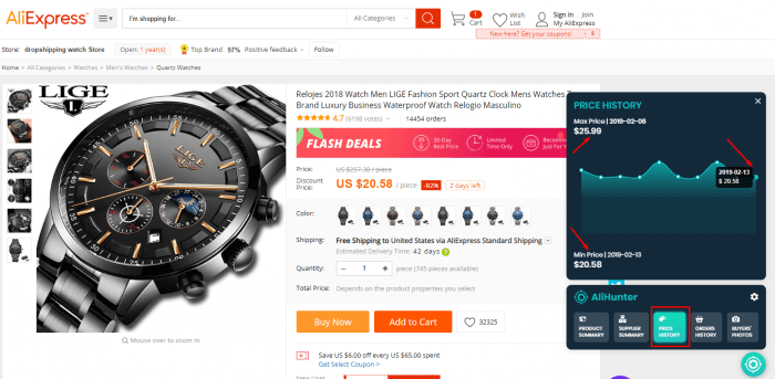Ali-Express-product-page-watch-information-ali-hunter-order-history