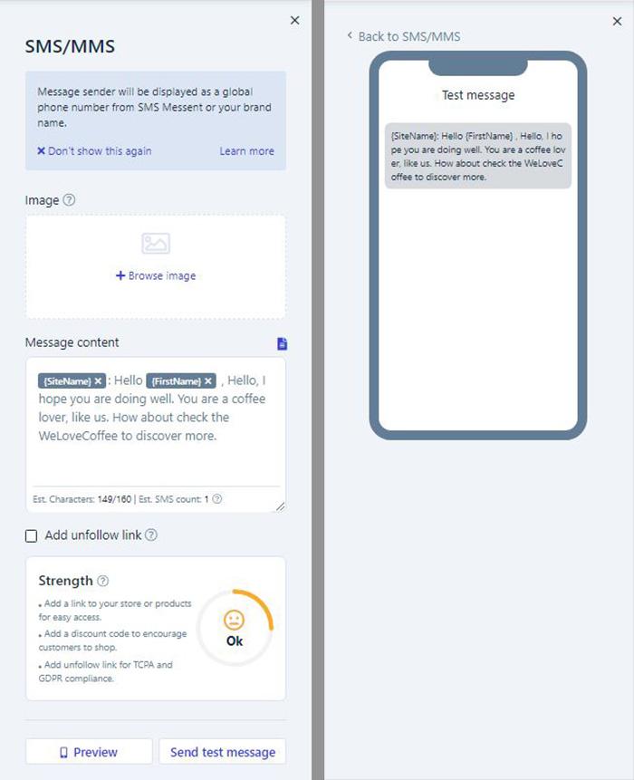 messent-message-strength-ui-interface