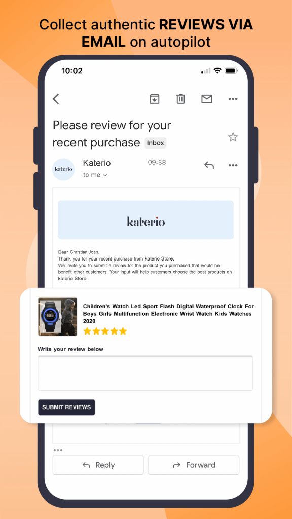 Get more product reviews from customers via email.