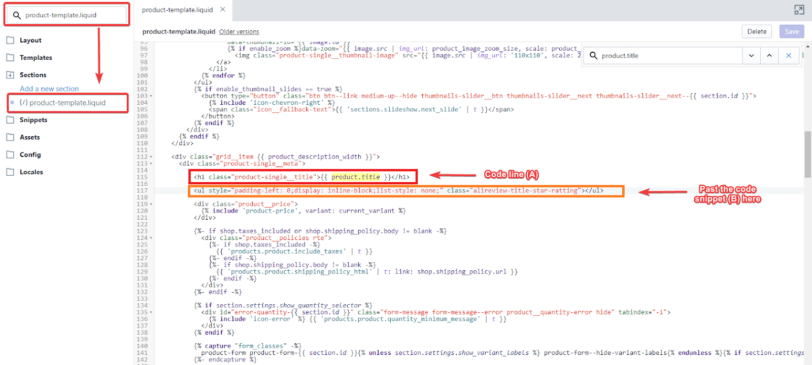 Place To Add Code In product.liquid File To Show Rating Star In The Product Page