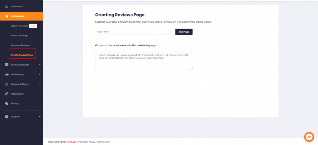 Where to click create review page in Ali Reviews In-App Setting