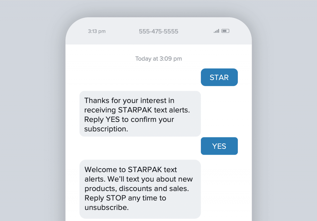 SMS Marketing Double Opt-In Example