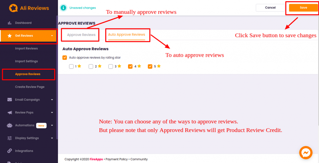 Place To Switch Between Manually And Auto Approved Reviews