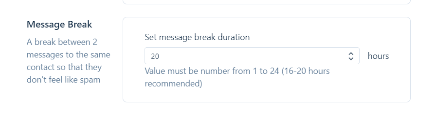 Setting Message Break Is Important To Avoid Spam User
