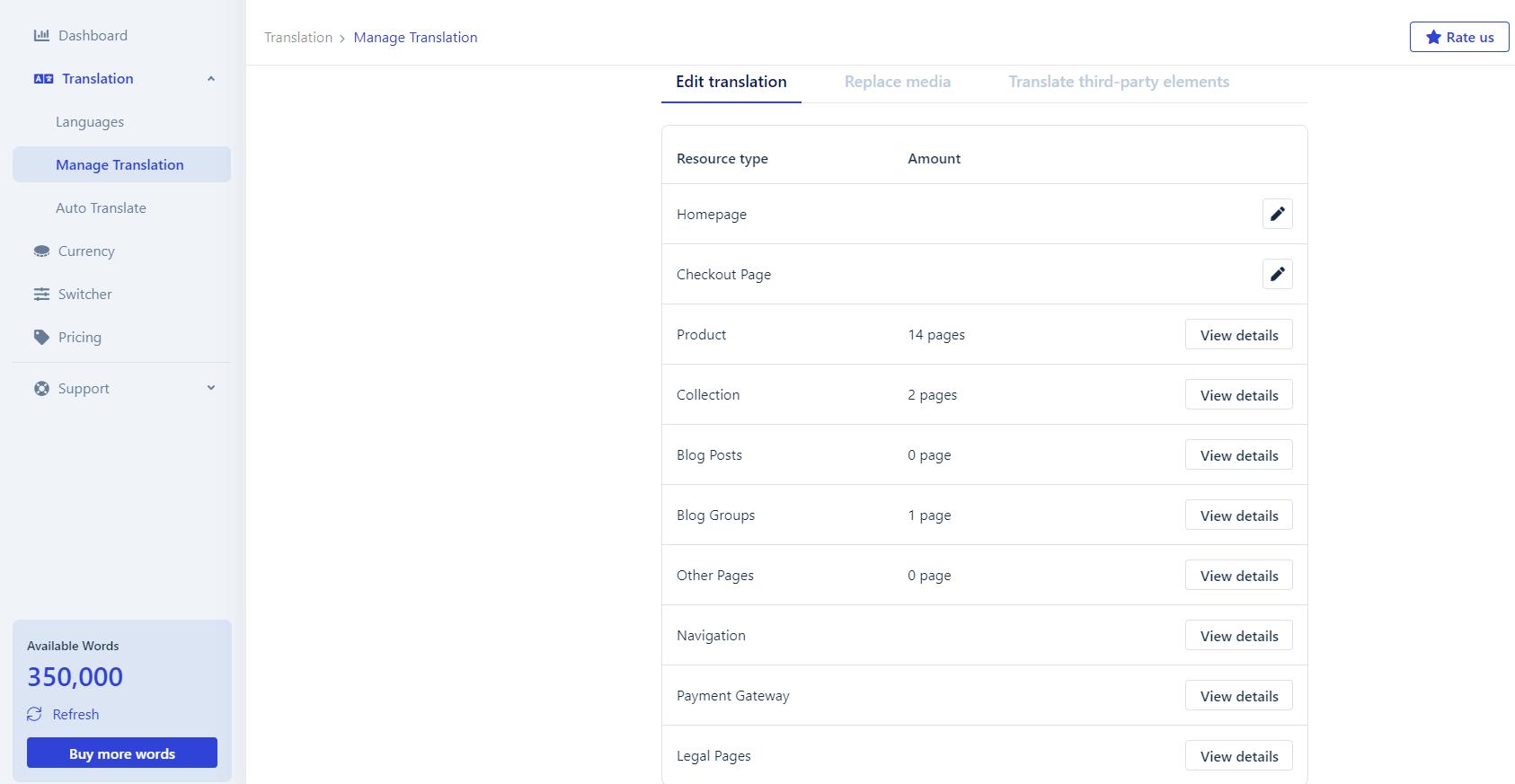 Shopify translate checkout page