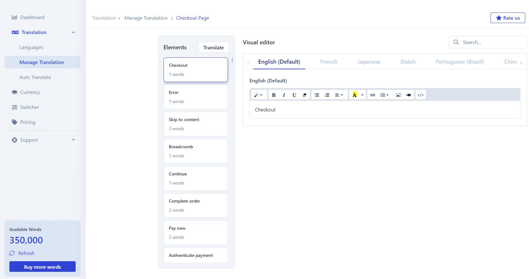 Shopify translate checkout page elements