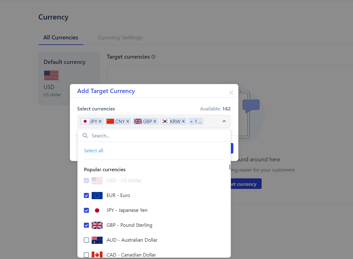 Select target currencies for Shopify change currency