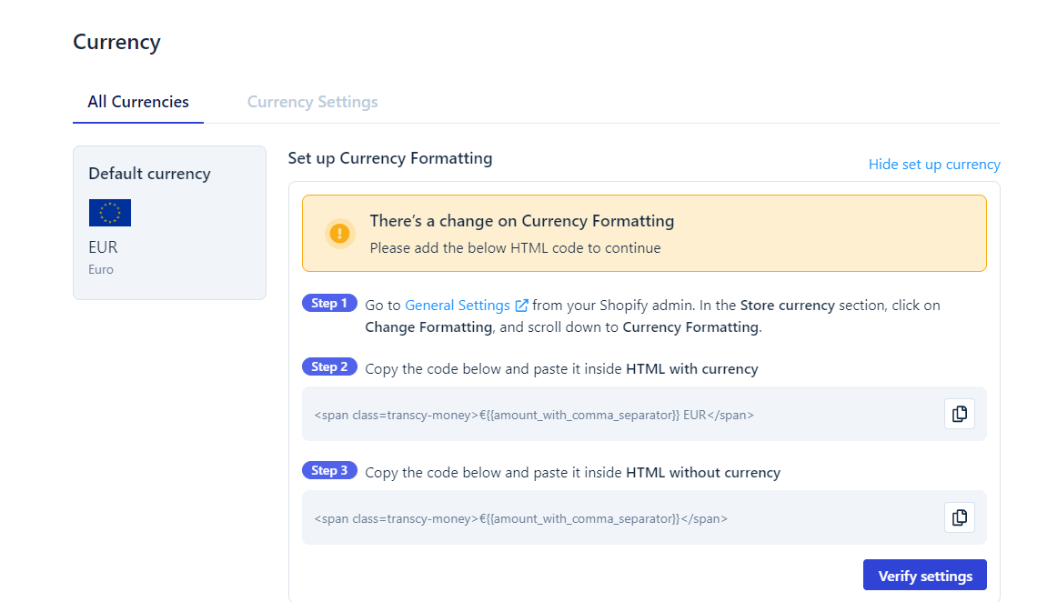 Verify Currency code when to change Shopify currencies