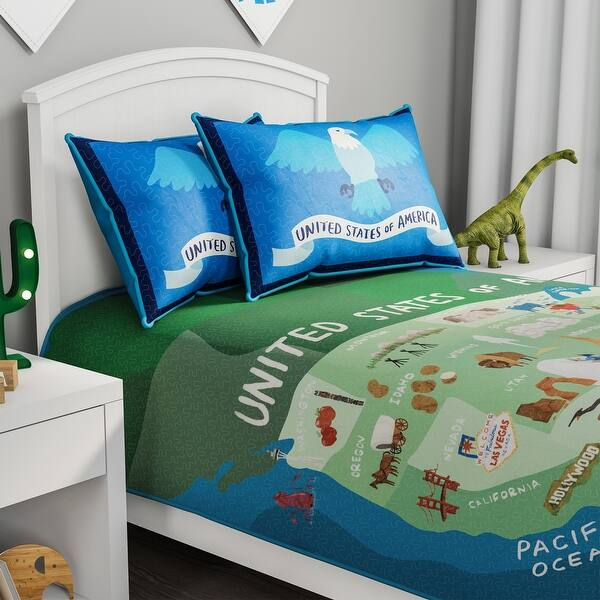 American Independence Day Bedding set American map