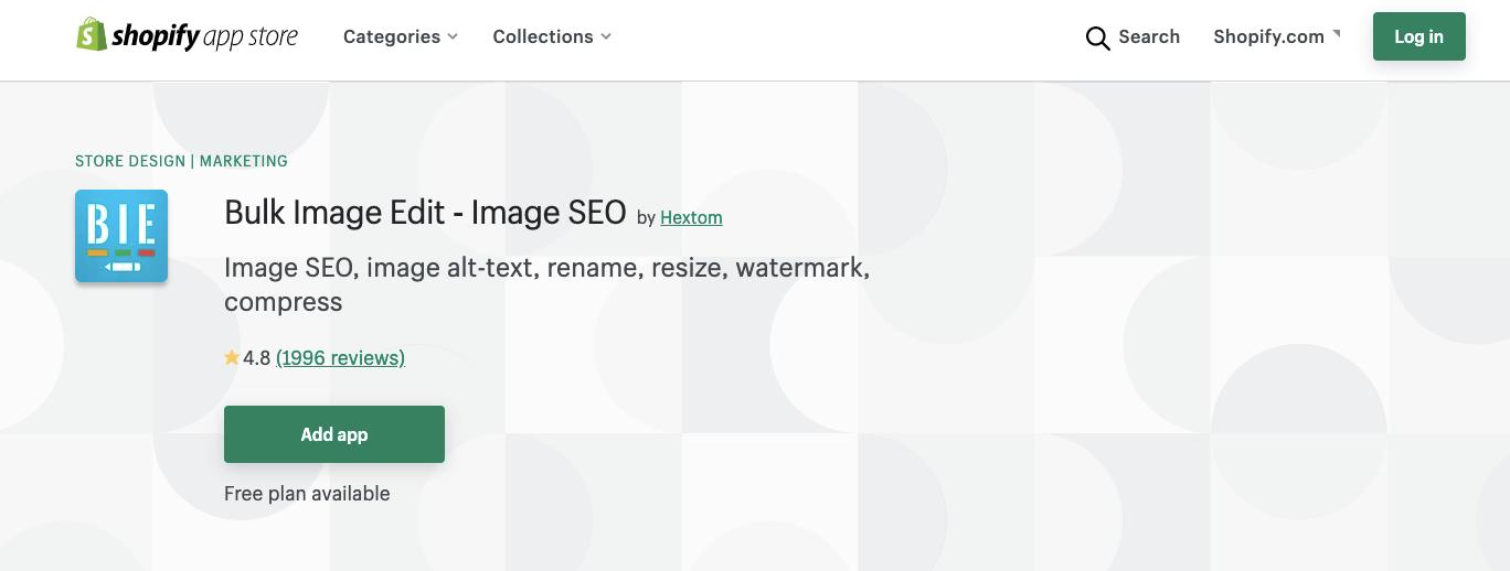 Bulk Image Edit in Shopify SEO app