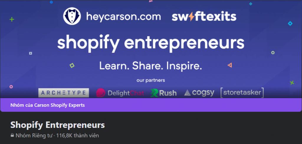 Facebook groups: Shopify Entrepreneurs