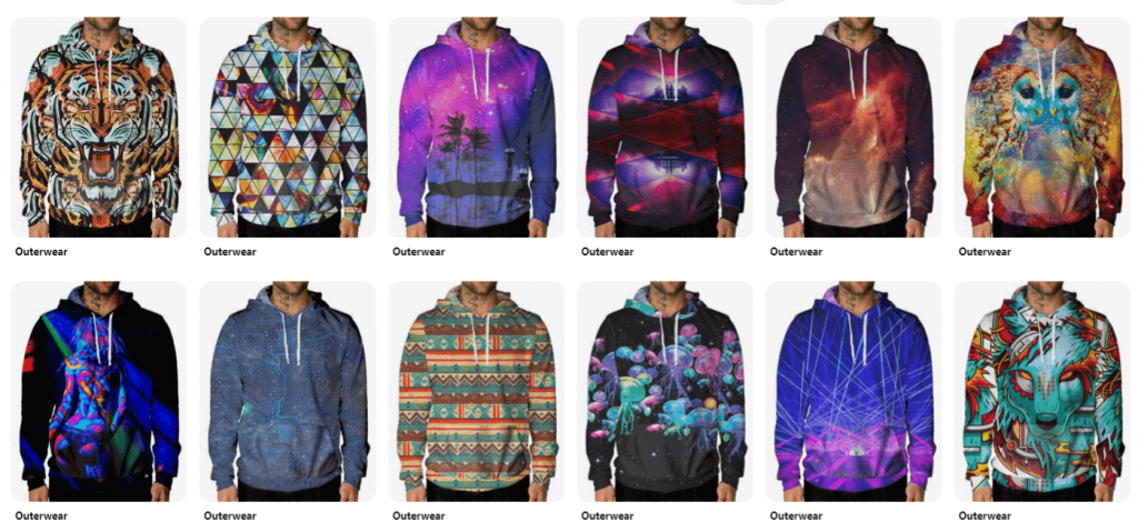 Print on demand products: All-over print hoodie